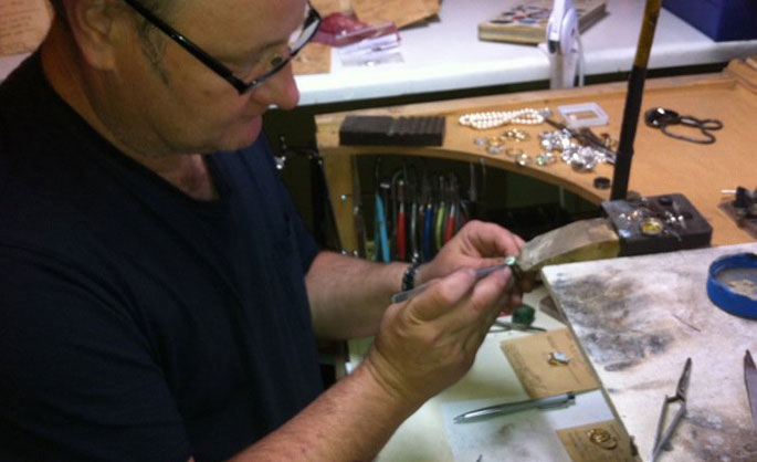 Andrew working on Gold ring in jewellery shop