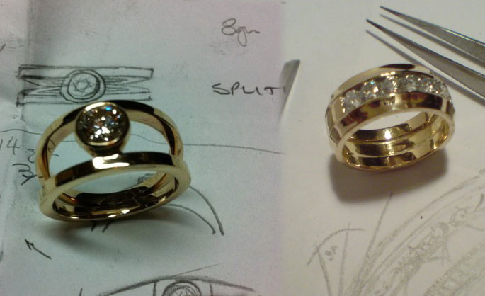 Bespoke gold ring designs as part of Andrew's jewellery work