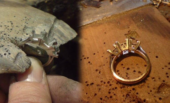 Andrew working on hand crafted gold ring jewellery